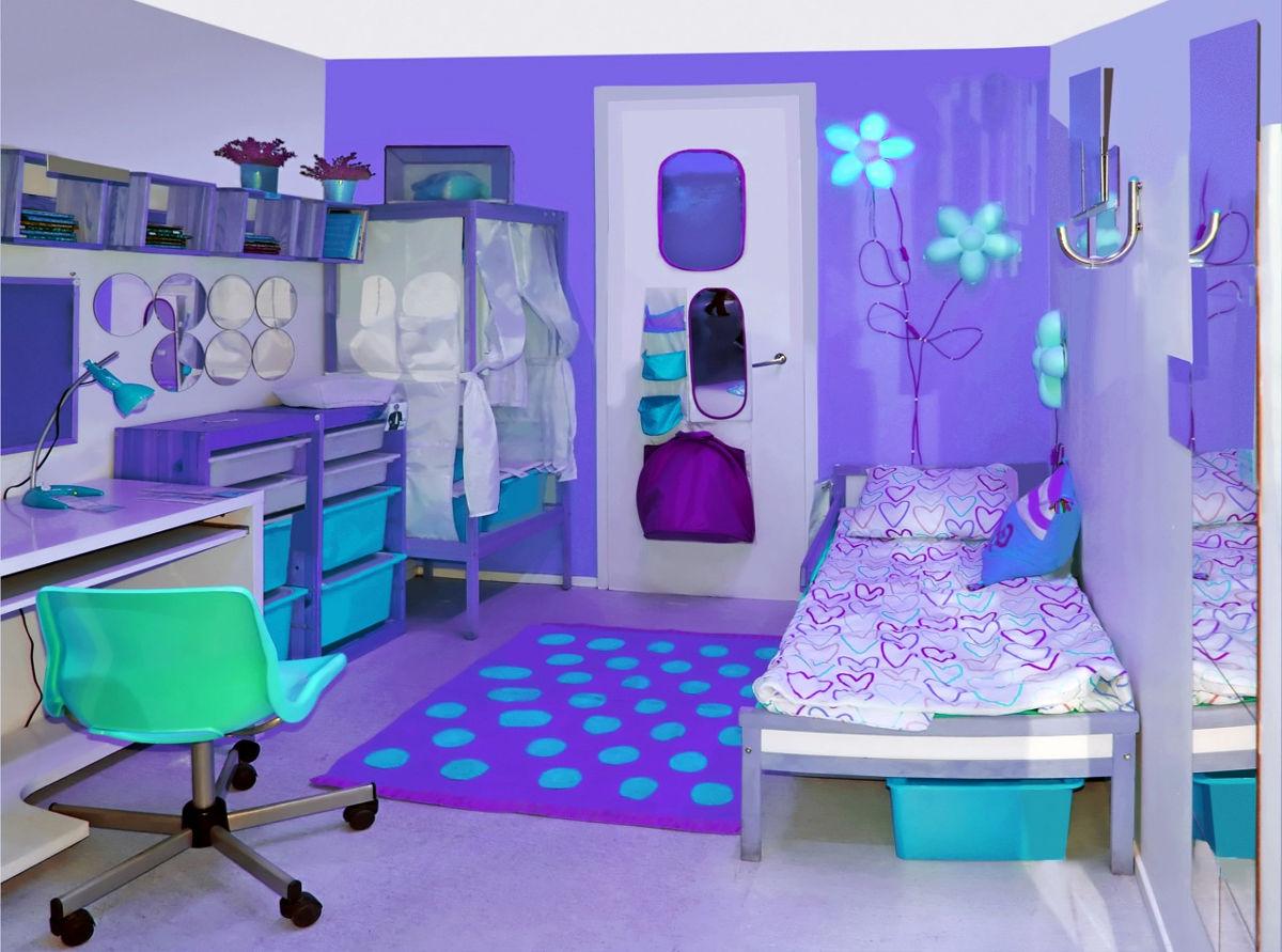 Дизайн комнат для подростков девочек в фиолетовых